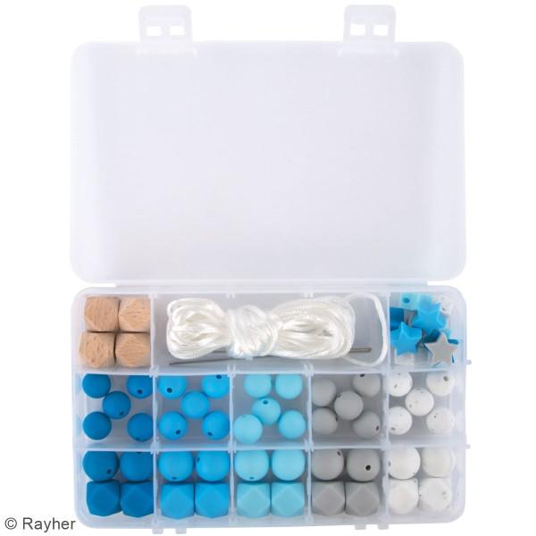 Assortiment de perles en silicone et bois - Bleu clair - 61 pcs - Photo n°3