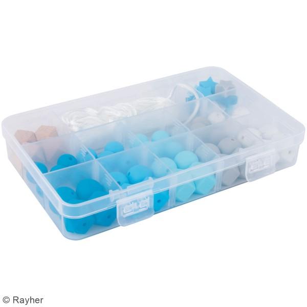 Assortiment de perles en silicone et bois - Bleu clair - 61 pcs - Photo n°4