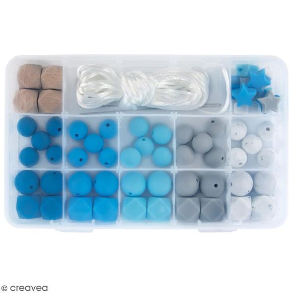 Assortiment de perles en silicone et bois - Bleu clair - 61 pcs - Photo n°1