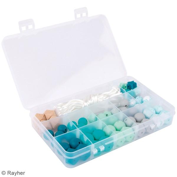 Assortiment de perles en silicone et bois - Vert menthe - 61 pcs - Photo n°2
