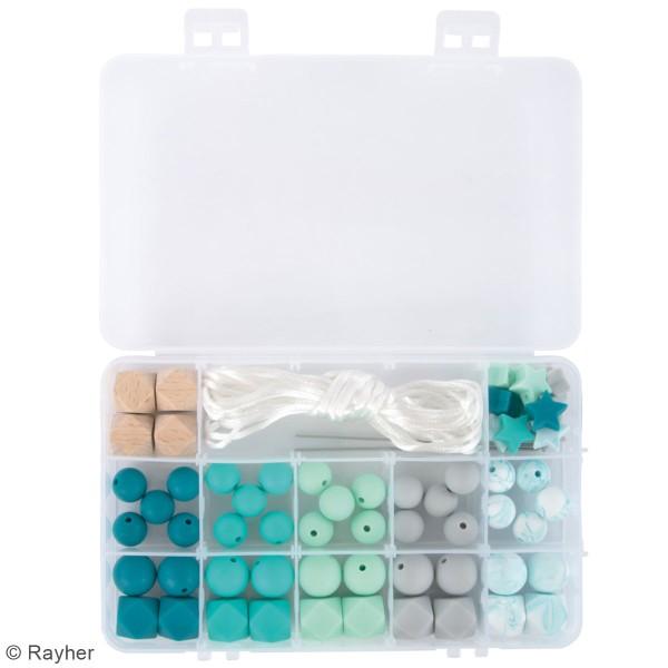 Assortiment de perles en silicone et bois - Vert menthe - 61 pcs - Photo n°3