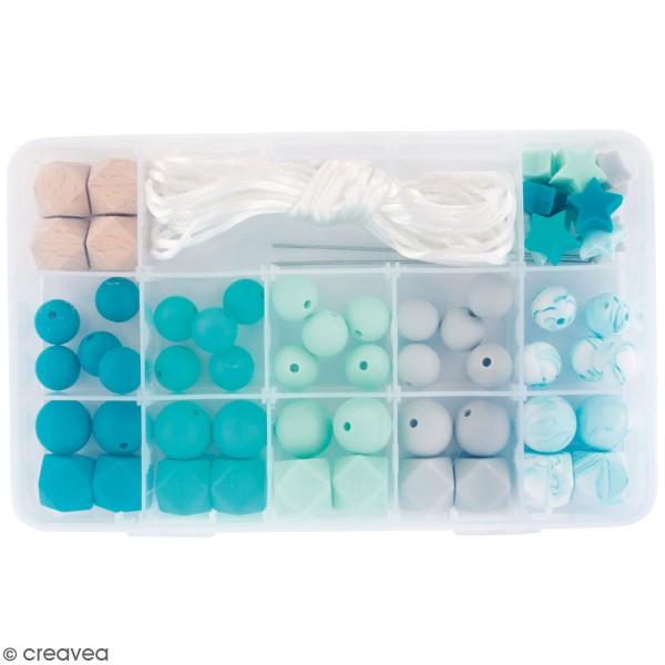 Assortiment de perles en silicone et bois - Vert menthe - 61 pcs - Photo n°1