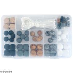 Assortiment de perles en silicone et bois - Noir - 61 pcs