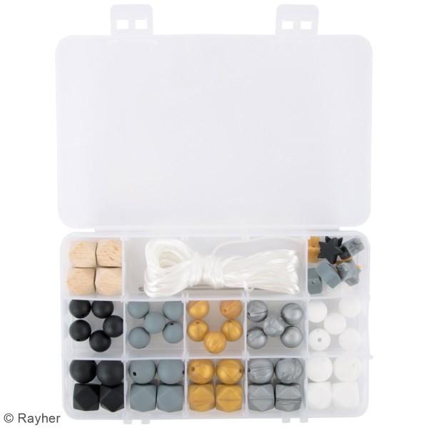 Assortiment de perles en silicone et bois - Noir - 61 pcs - Photo n°3