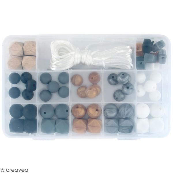 Assortiment de perles en silicone et bois - Noir - 61 pcs - Photo n°1