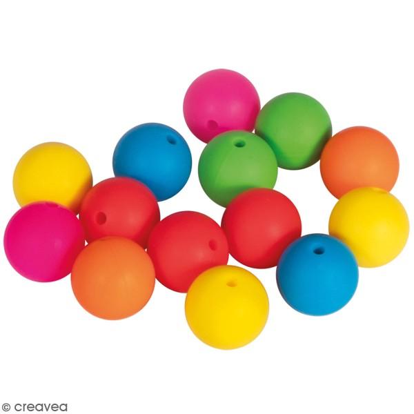 Lot de perles en silicone - 15 mm - Fluo - 14 pcs - Photo n°1