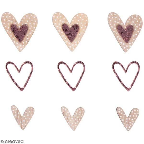 Miniatures en bois - Coeurs stylisés - 2 à 4 cm - 15 pcs - Photo n°1