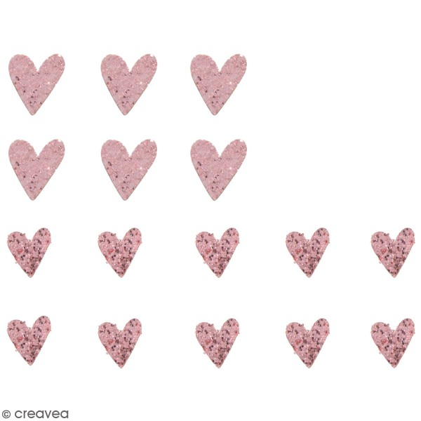 Miniatures en bois - Coeur rose à paillette - 2 à 3 cm  - 16 pcs - Photo n°1