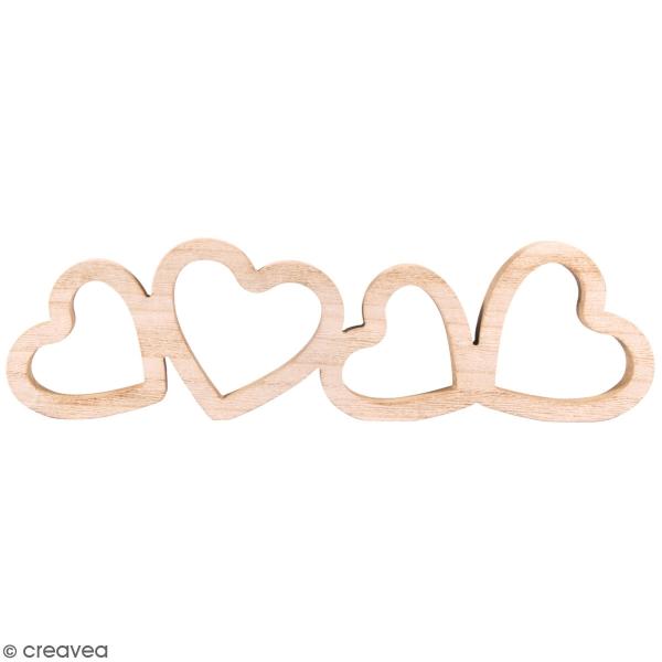 Coeurs en bois à décorer - 39 x 11 x 2 cm - Photo n°1