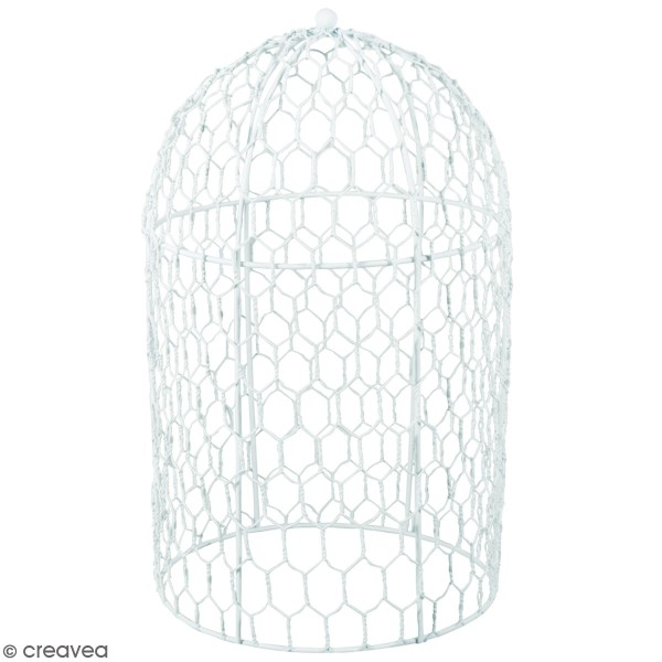 Cage décorative - Cloche Blanche - 15 x 25 cm - Photo n°1