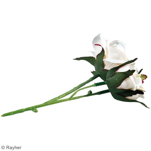 Fleur Artificielle avec tige - Roses blanches - 15 cm - Photo n°4