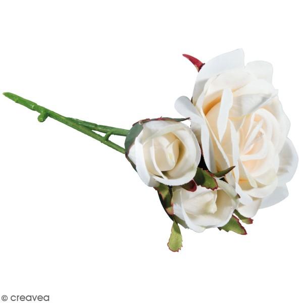 Fleur Artificielle avec tige - Roses blanches - 15 cm - Photo n°1