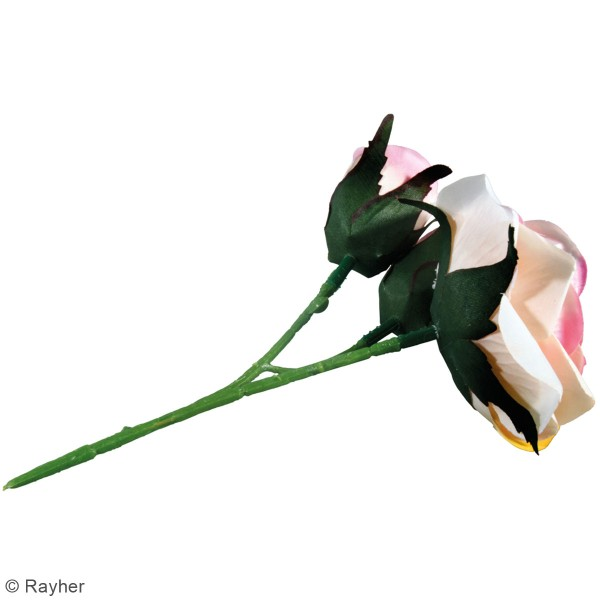 Fleur Artificielle avec tige - Roses rosées - 15 cm - Photo n°4