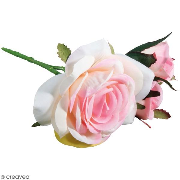 Fleur Artificielle avec tige - Roses rosées - 15 cm - Photo n°1