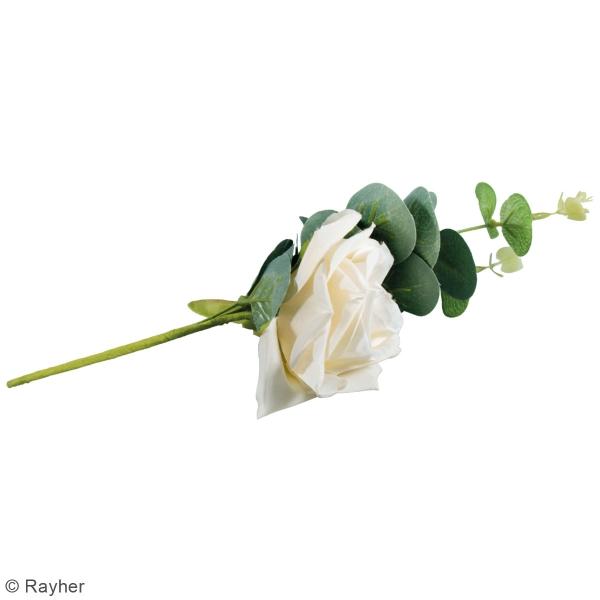 Fleur Artificielle avec tige - Rose blanche avec eucalyptus - 28 cm - Photo n°4