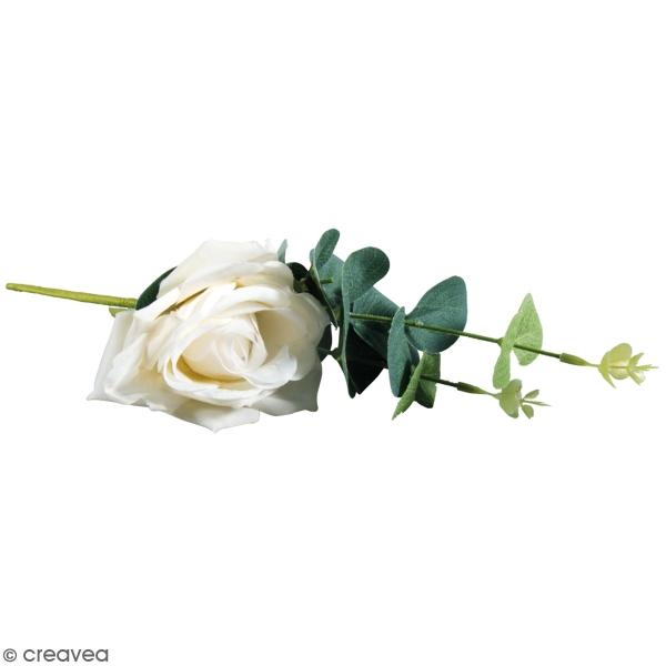 Fleur Artificielle avec tige - Rose blanche avec eucalyptus - 28 cm - Photo n°1