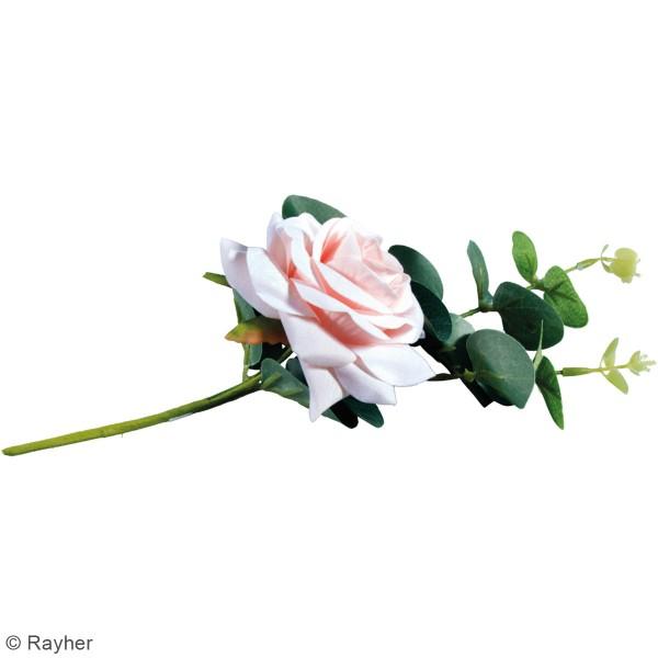Fleur Artificielle avec tige - Rose rosée avec eucalyptus - 28 cm - Photo n°4