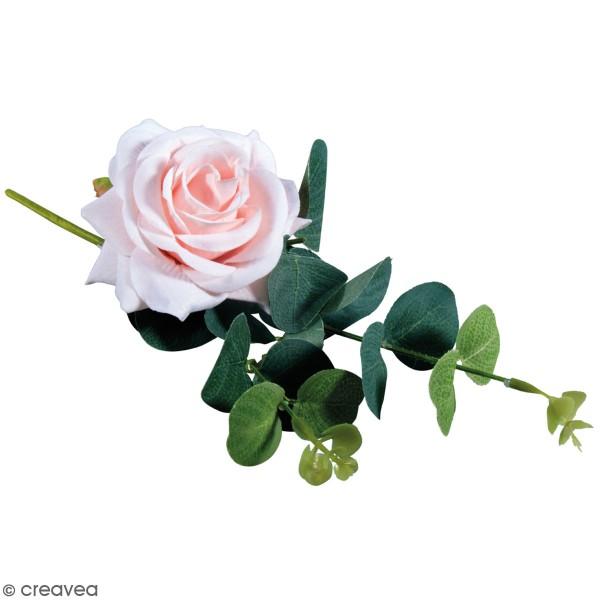 Fleur Artificielle avec tige - Rose rosée avec eucalyptus - 28 cm - Photo n°1