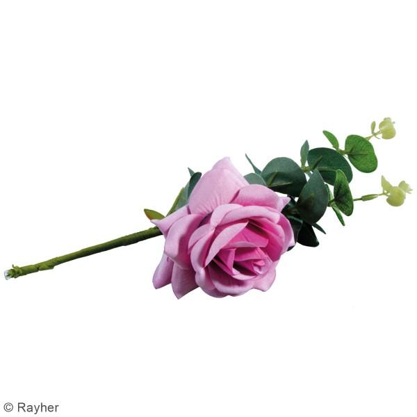 Fleur Artificielle avec tige - Rose violette avec eucalyptus - 28 cm - Photo n°4