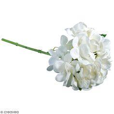 Fleur Artificielle avec tige - Hortensia blanc - 33 cm
