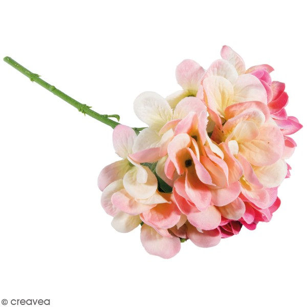 Fleur Artificielle avec tige - Hortensia rose - 33 cm - Photo n°1