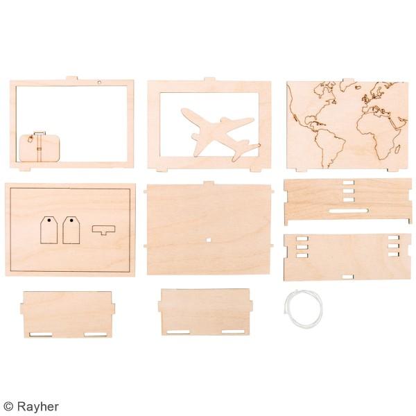 Tirelire en bois à monter - Voyage - 11,5 x 8,5 x 5 cm - Photo n°3