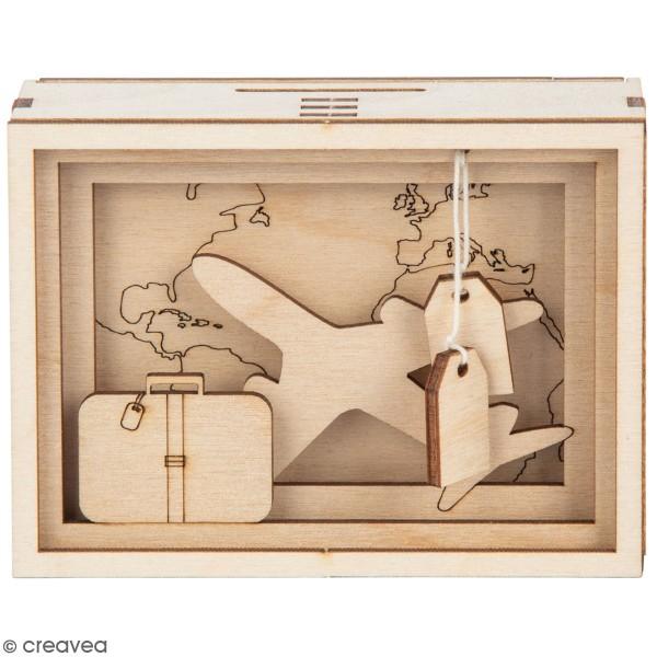 Tirelire en bois à monter - Voyage - 11,5 x 8,5 x 5 cm - Photo n°1
