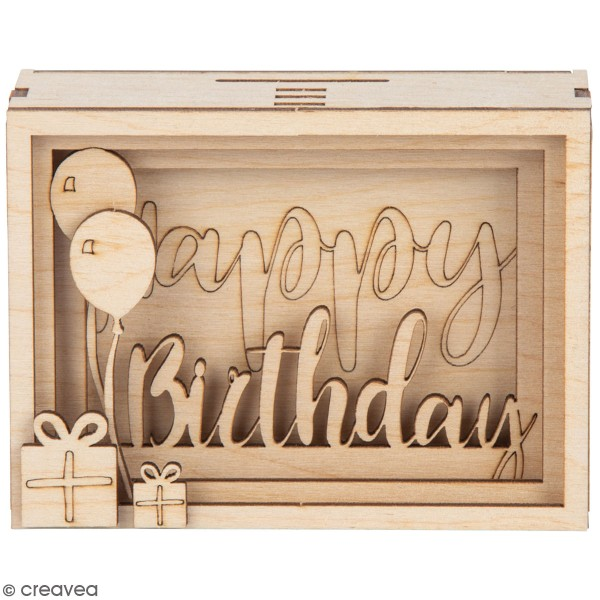 Tirelire en bois à monter - Happy birthday - 11,5 x 8,5 x 5 cm - Photo n°1