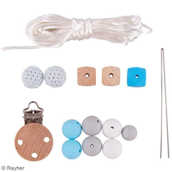 Kit DIY Attache-tétine - Bleu - Photo n°3
