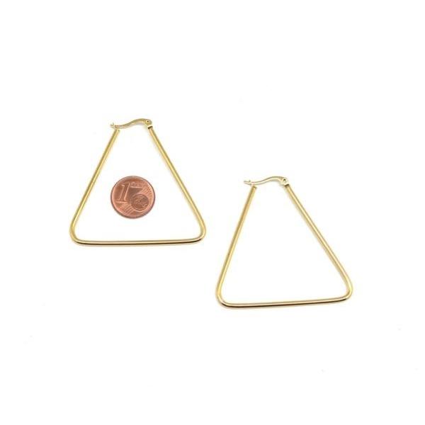 1 Paire De Grande Boucles D'oreilles Créole Doré En Forme De Triangle En Acier Inoxydable - Plaisi - Photo n°2