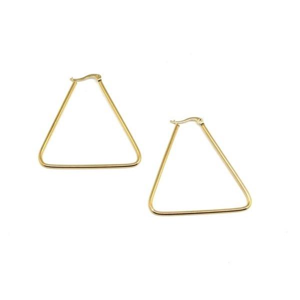 1 Paire De Grande Boucles D'oreilles Créole Doré En Forme De Triangle En Acier Inoxydable - Plaisi - Photo n°3
