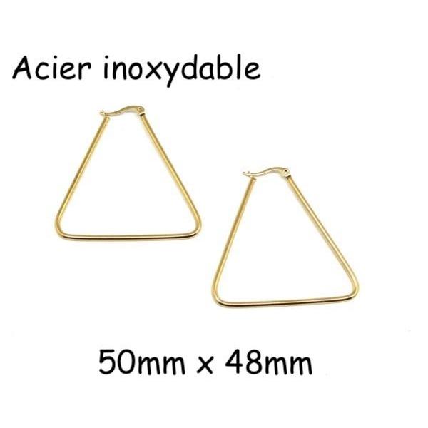 1 Paire De Grande Boucles D'oreilles Créole Doré En Forme De Triangle En Acier Inoxydable - Plaisi - Photo n°1