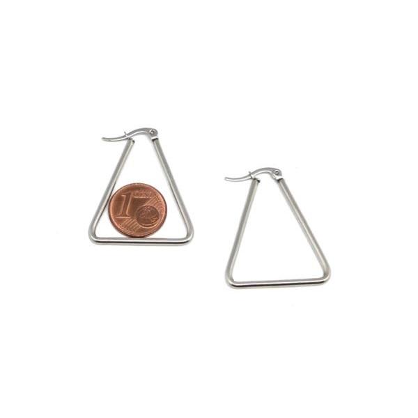 1 Paire Supports Boucles D'oreilles Créole Triangle Argenté En Acier Inoxydable Argenté - Tendanc - Photo n°2