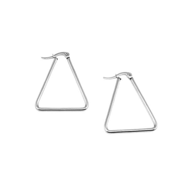 1 Paire Supports Boucles D'oreilles Créole Triangle Argenté En Acier Inoxydable Argenté - Tendanc - Photo n°3