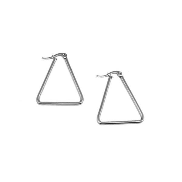 1 Paire Supports Boucles D'oreilles Créole Triangle Argenté En Acier Inoxydable Argenté - Tendanc - Photo n°4