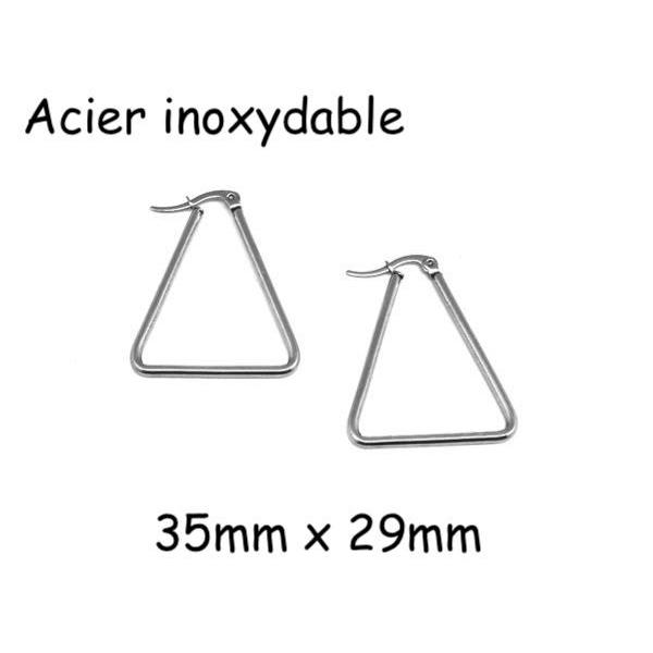 1 Paire Supports Boucles D'oreilles Créole Triangle Argenté En Acier Inoxydable Argenté - Tendanc - Photo n°1