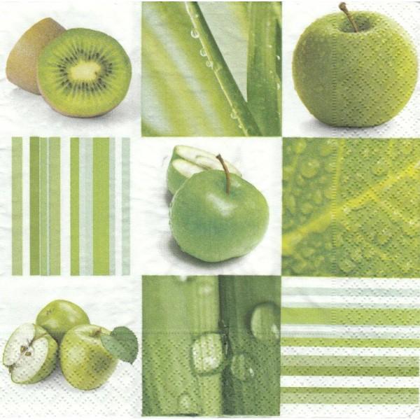 4 Serviettes en papier Pomme Kiwi Nature Format Lunch Decoupage Decopatch LN0500 Colourful Life - Photo n°1