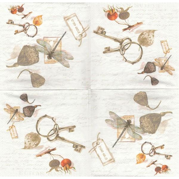 4 Serviettes en papier Clés libellule Trésors Format Lunch Decoupage Decopatch L-482500 IHR - Photo n°1