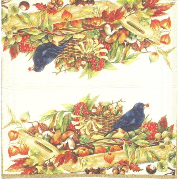 4 Serviettes en papier Merle Fruits Automne Format Lunch Decoupage Decopatch L-35860 IHR - Photo n°1