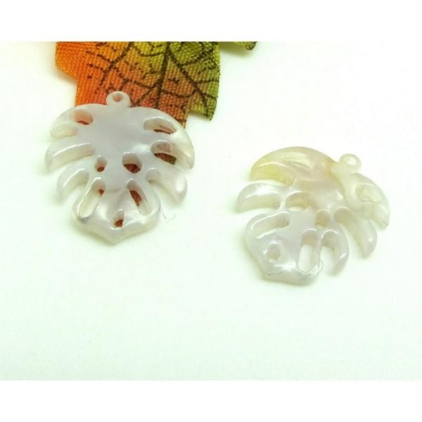 2 Breloques Petites Feuilles Tropicales  Collection Acetate Blanc Gris effet Nacre, 17*15 mm - Photo n°1