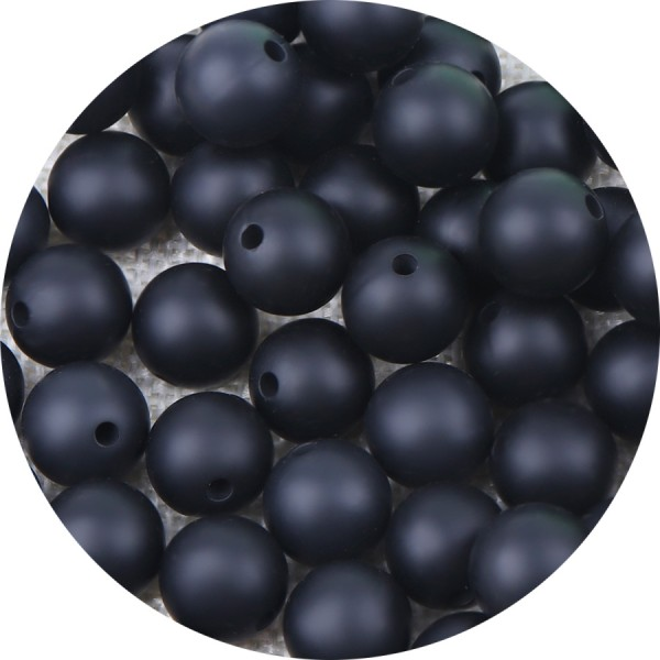 10 Perle 12mm Silicone Couleur Noir, Creation Bijoux, Attache tetine - Photo n°1