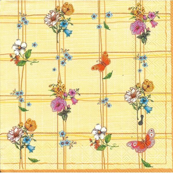 4 Serviettes en papier Fleurs Papillon Format Lunch Collage Decopatch SDWI-000902 Pol-Mak - Photo n°1