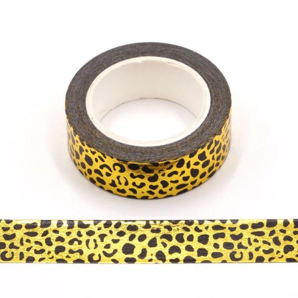 Masking tape métallisé léopard noir et or 15mm x 10m - Photo n°1
