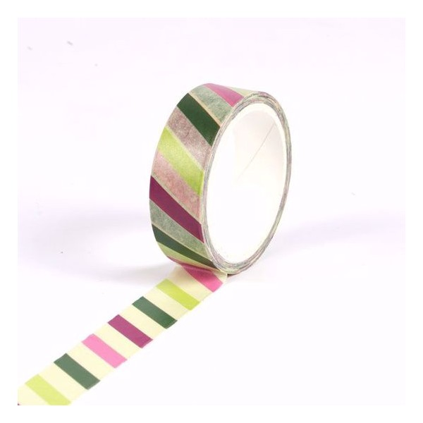 Masking tape rayures multicolores - Noël - 15mm x 10m - Photo n°2