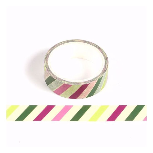 Masking tape rayures multicolores - Noël - 15mm x 10m - Photo n°1