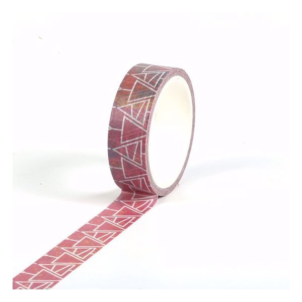 Masking tape Fond rouge Sapins blancs  Noël 15mm x 5m - Photo n°2