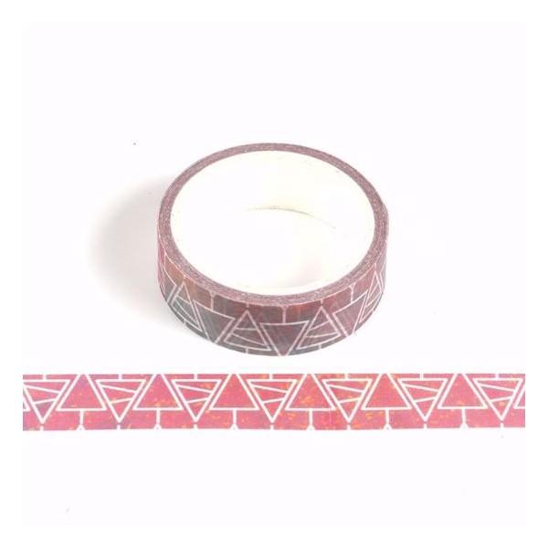 Masking tape Fond rouge Sapins blancs  Noël 15mm x 5m - Photo n°1