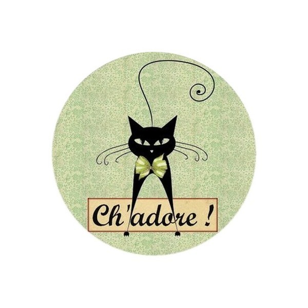 2 Cabochons Ronds Verre 14 mm, Ch'adore Chat vert - Photo n°1