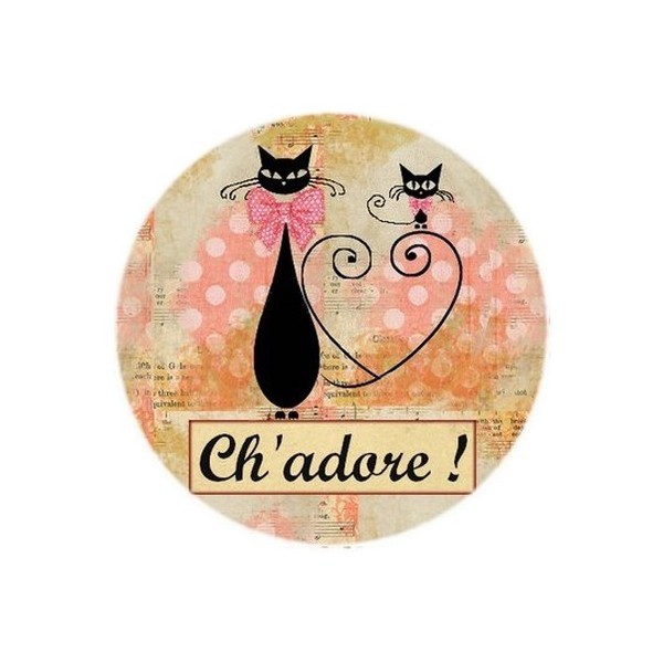 2 Cabochons Ronds Verre 20 mm, Ch'adore Chat Rose - Photo n°1