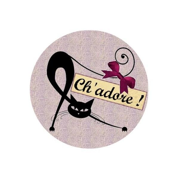 2 Cabochons Ronds Verre 20 mm, Ch'adore Chat Mauve - Photo n°1